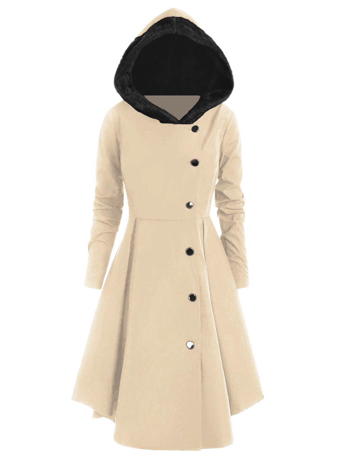 Store Plus Size Contrast Asymmetric Fleece Hooded Skirted Coat