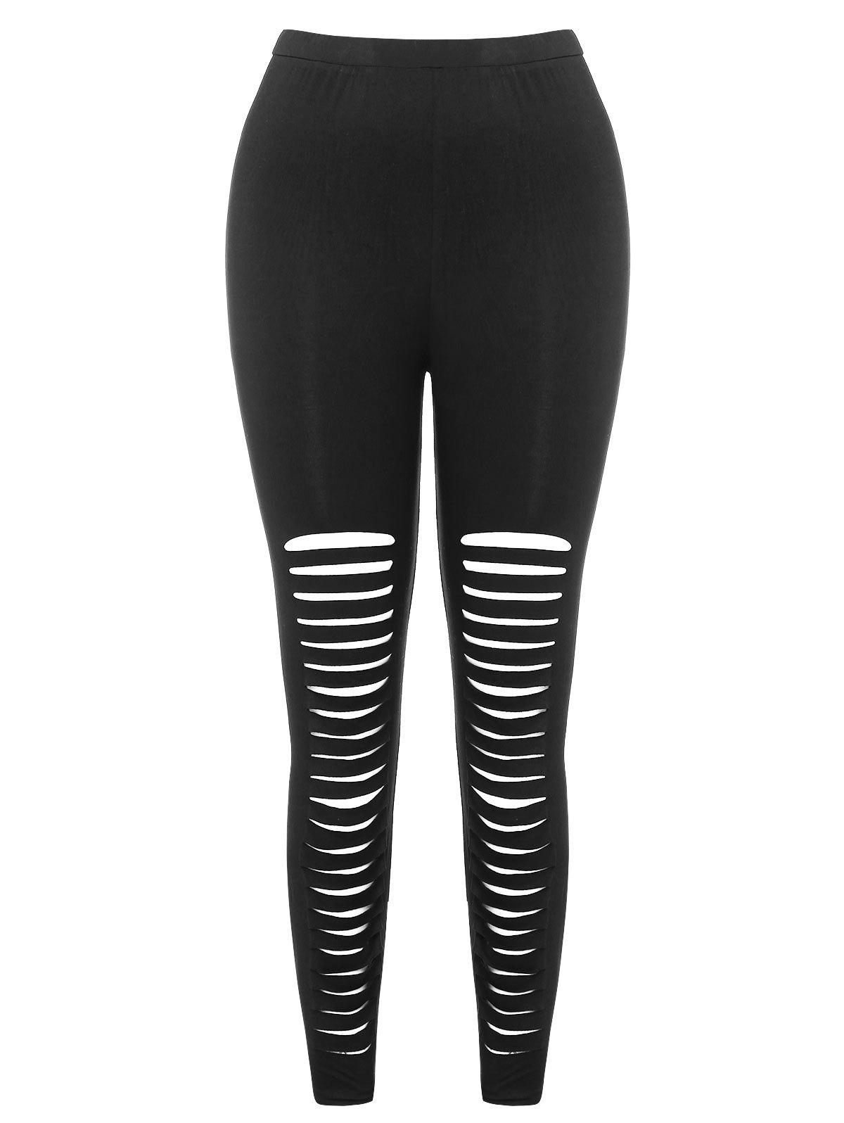Fancy High Waist Ladder Cut Out Plus Size Pants