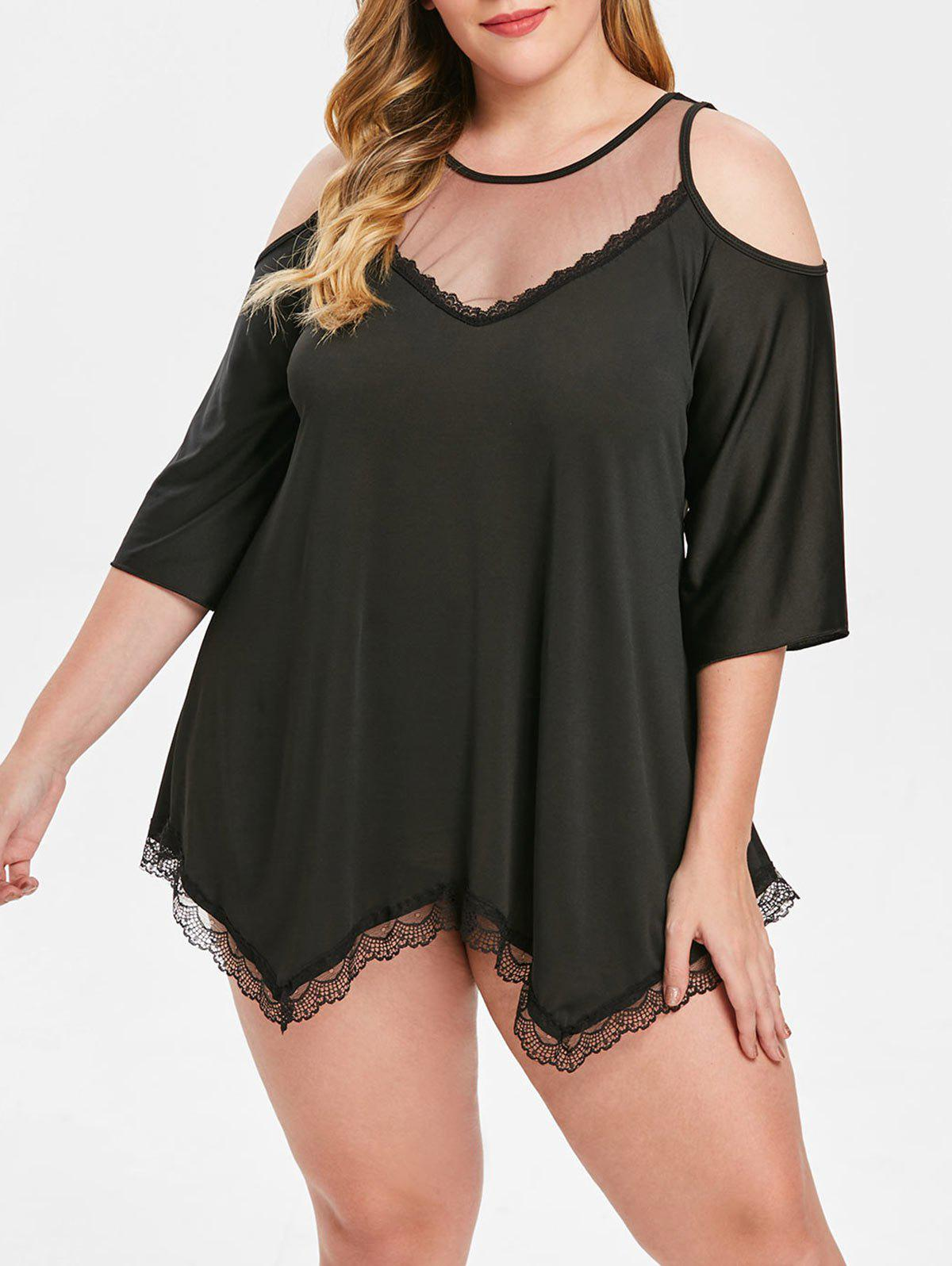 New Open Shoulder Plus Size See Through Top