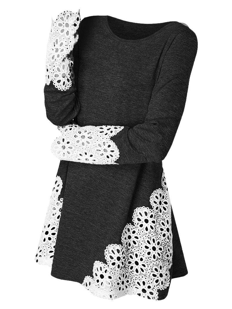Fashion Lace Panel Long Sleeve Top