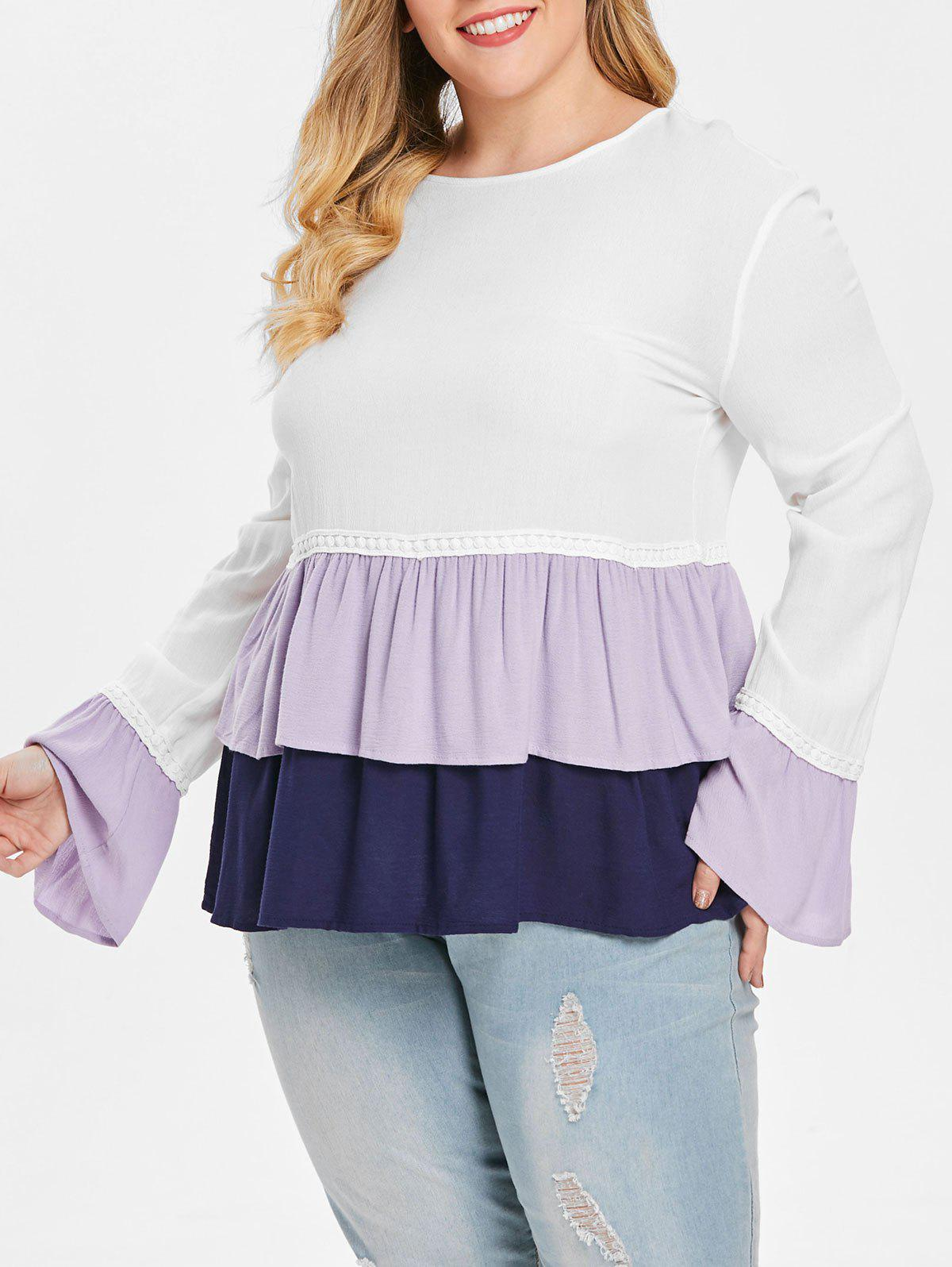 Affordable Plus Size Bell Sleeve Layered Peplum Blouse