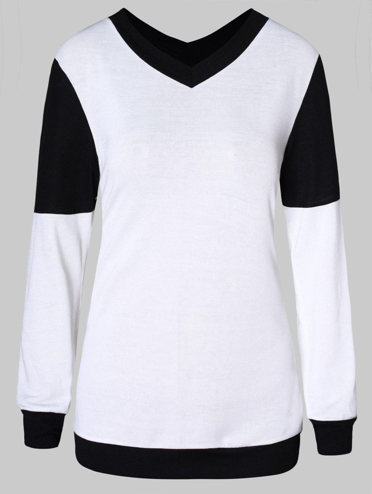 Fashion V Neck Two Tone Pullover Sweater