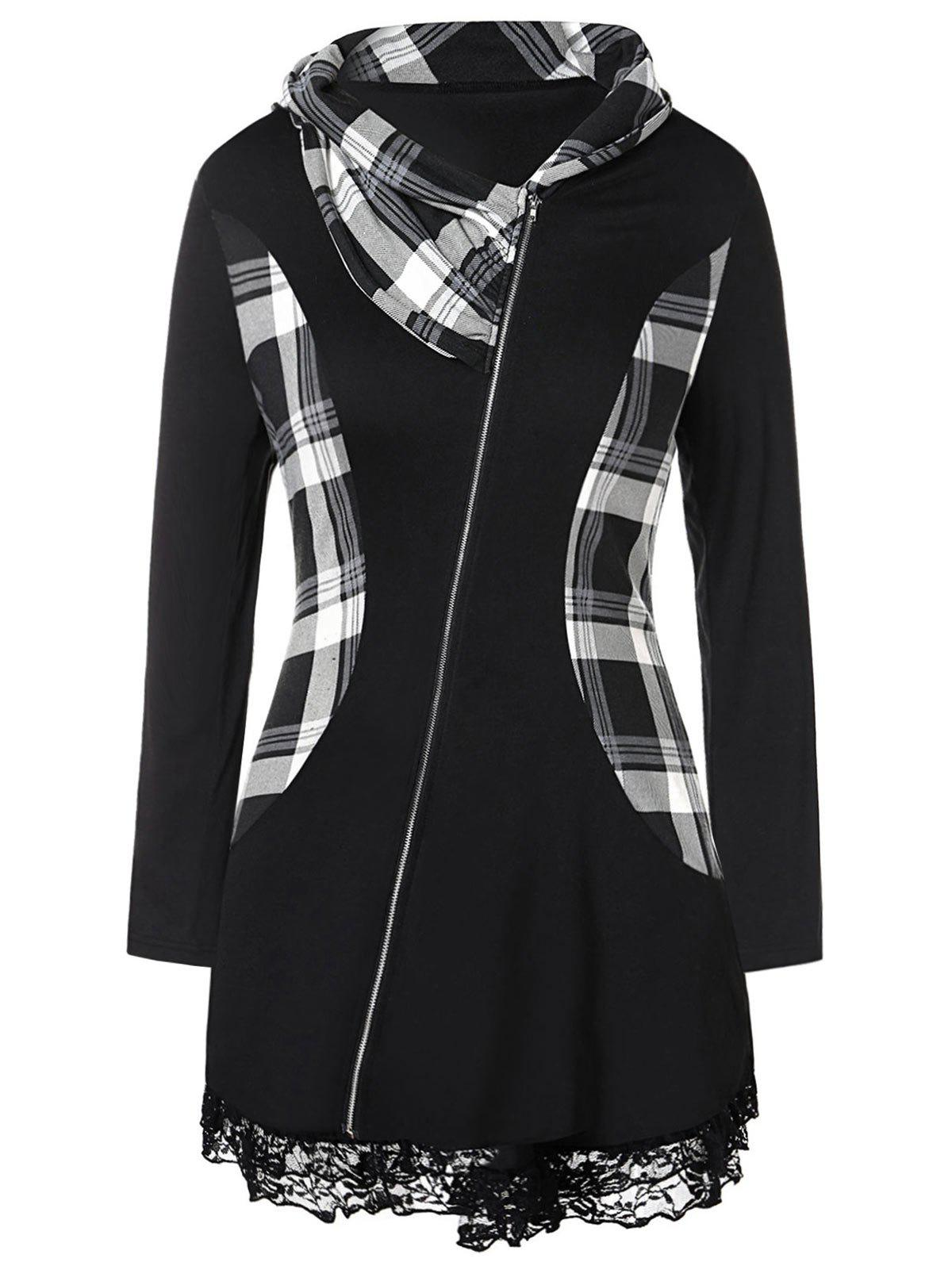 Outfit Plus Size Lace Insert Plaid Zip Fly  Coat