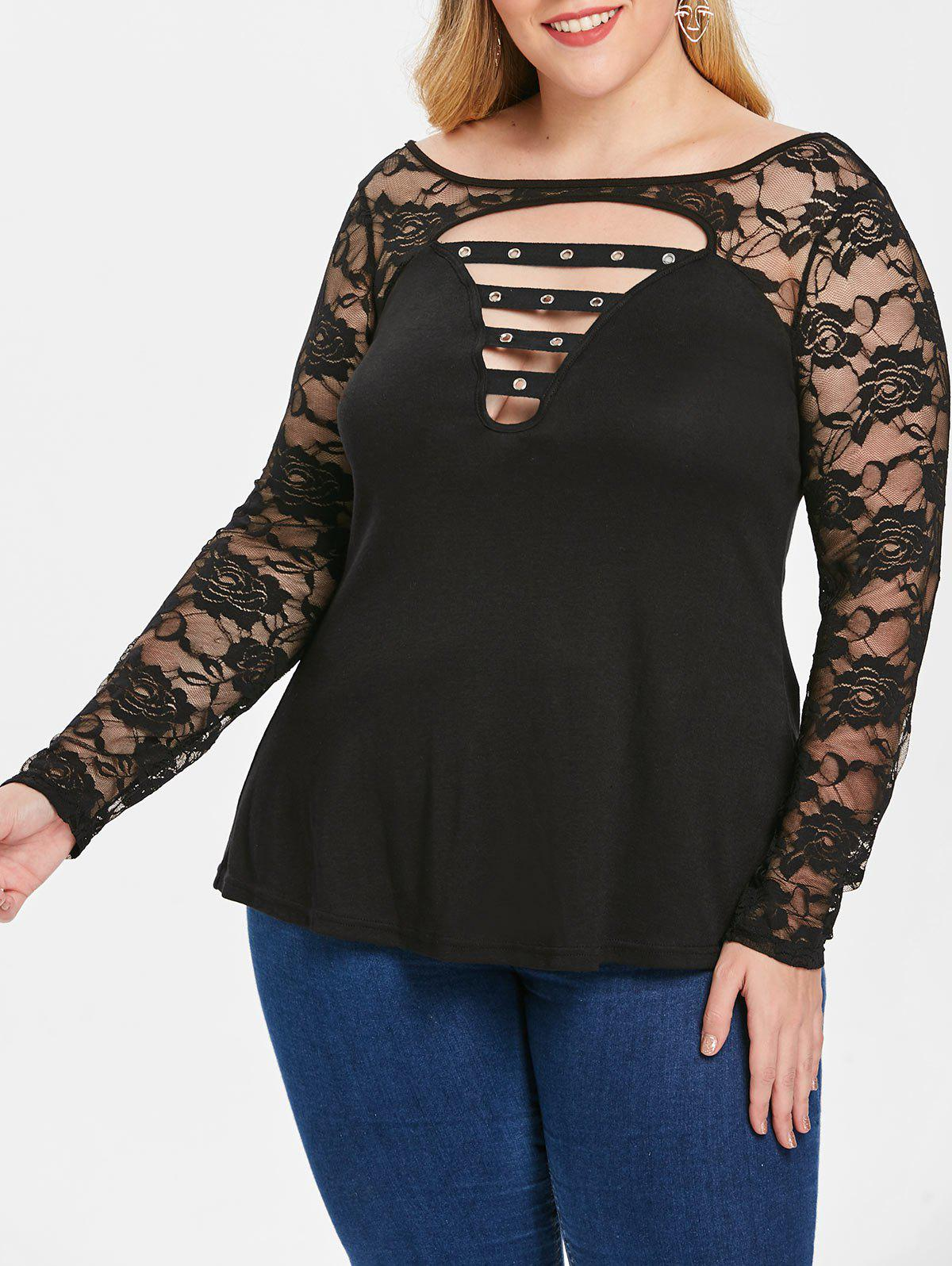 Affordable Plus Size Lace Insert Cut Out T-shirt