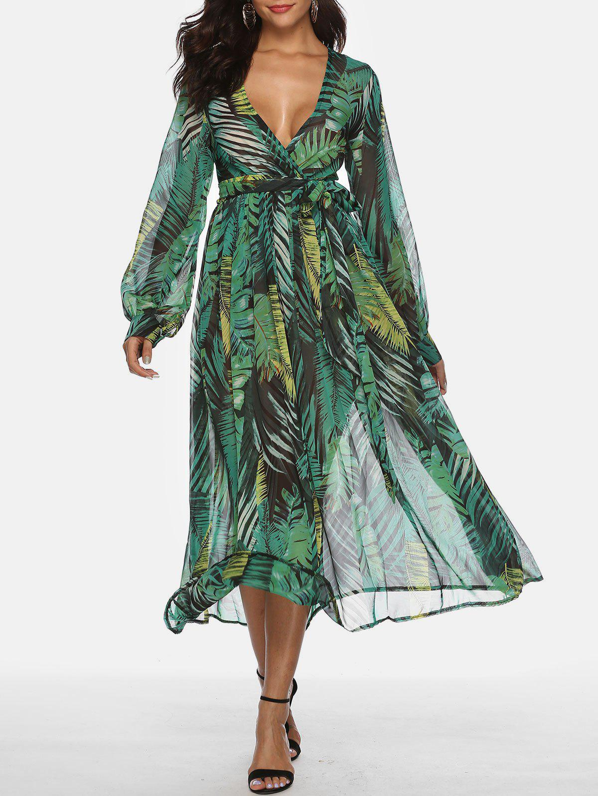New Bohemian Plunging Neckline Tropical Print Maxi Dress