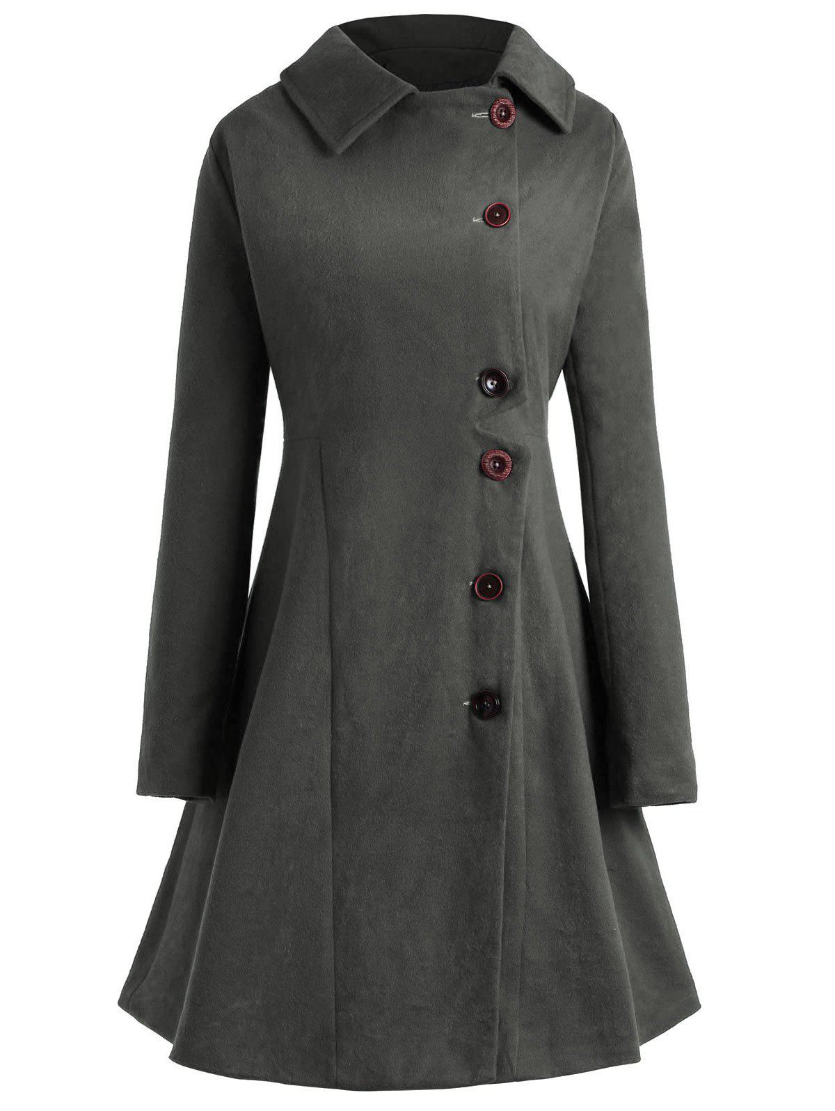 Latest Plus Size Hooded Flare Coat