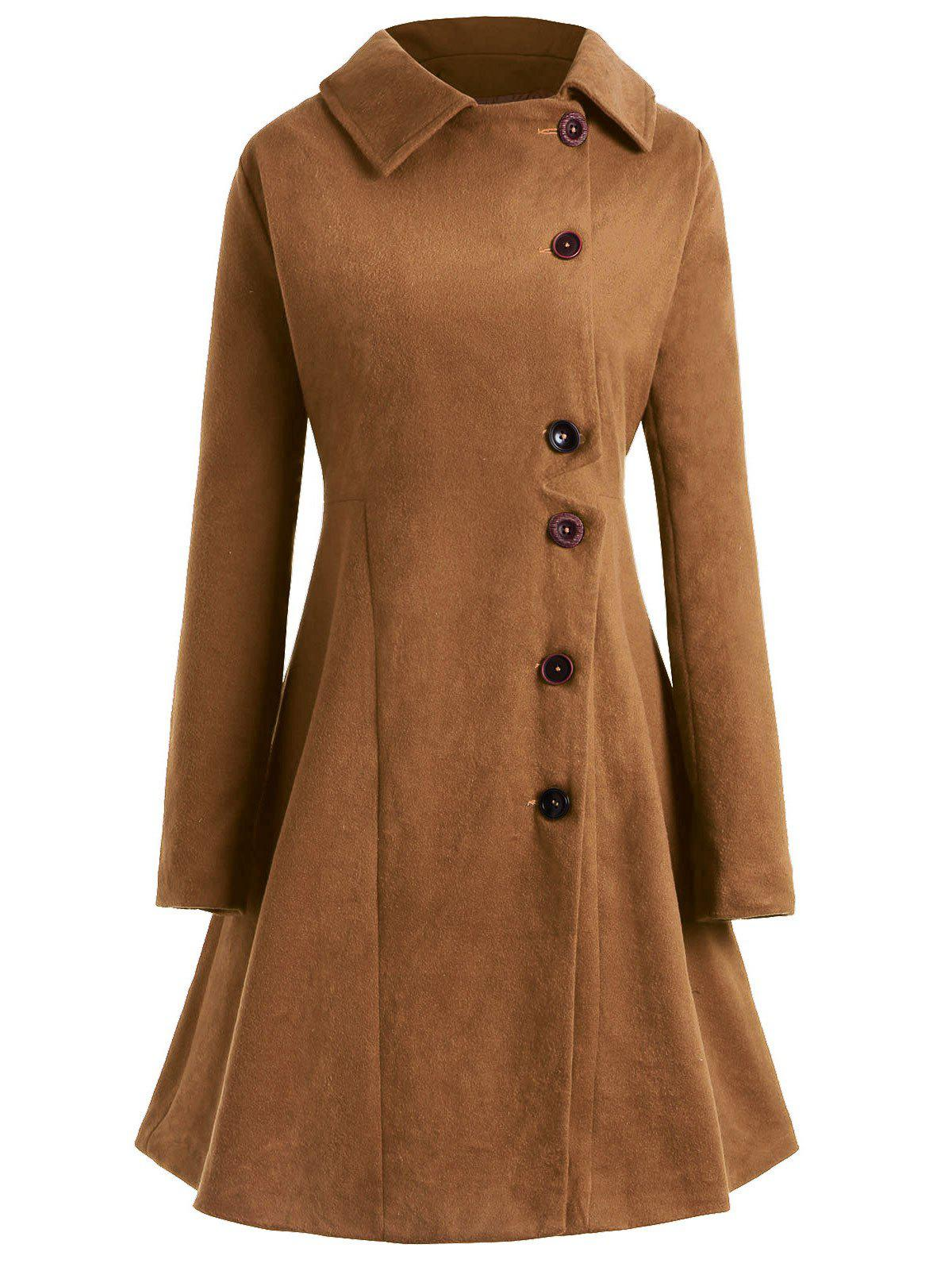 Chic Plus Size Hooded Flare Coat