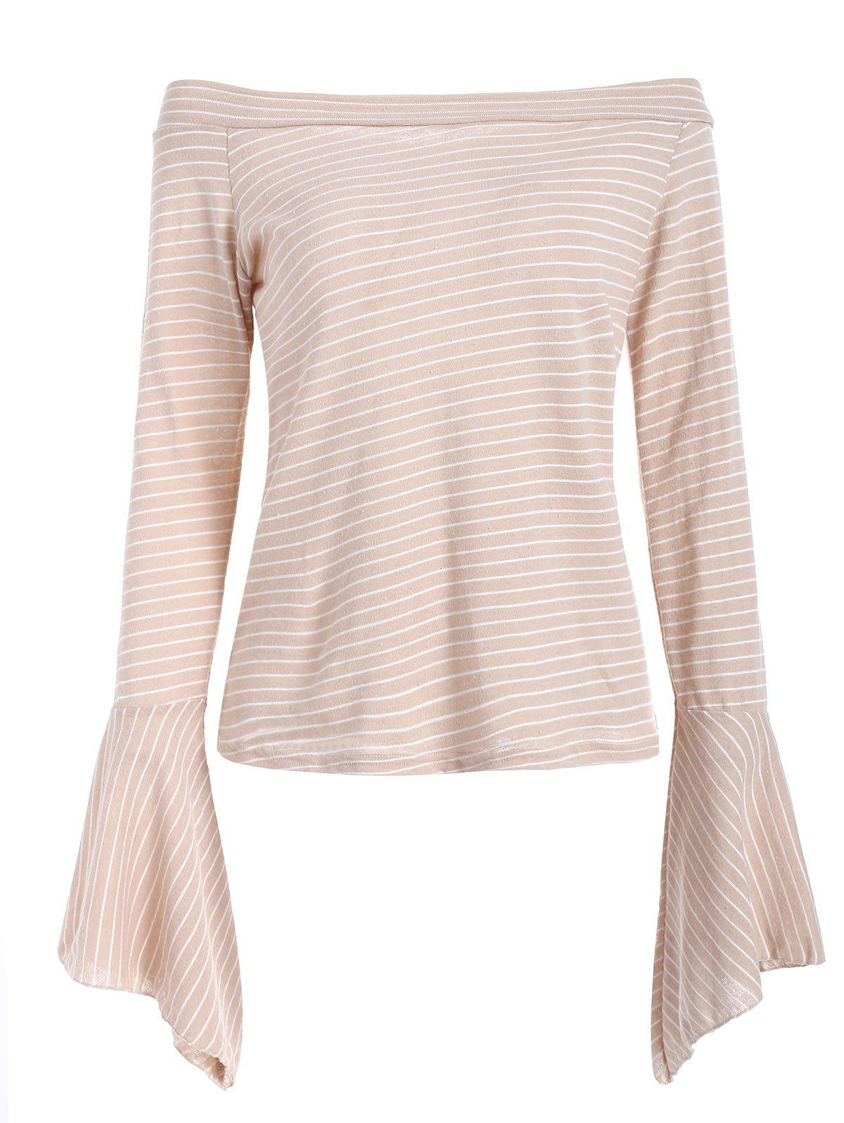 Discount Long Sleeve Off The Shoulder Striped Blouse