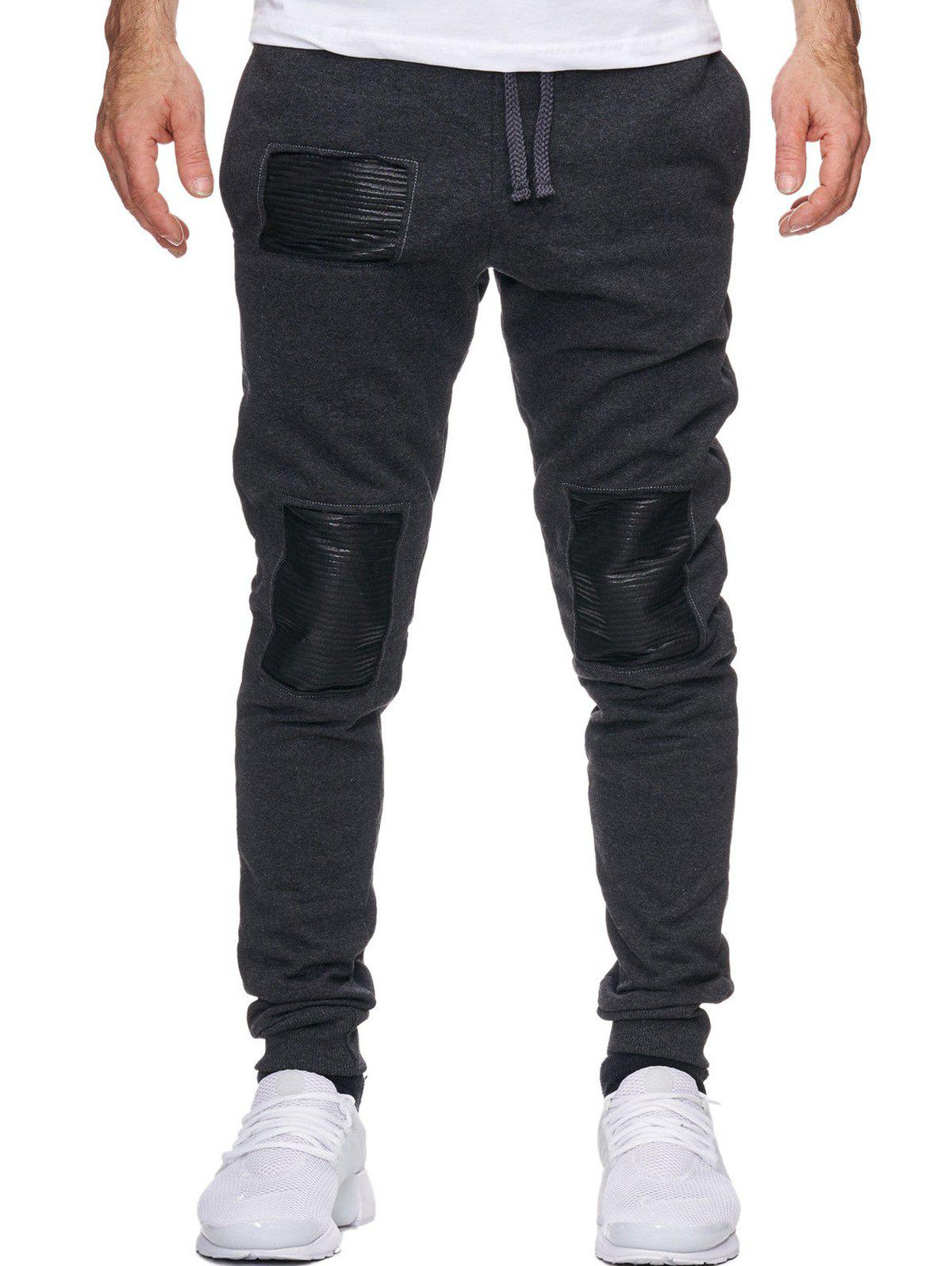 Fancy Patckwork Elastic Drawstring Casual Jogger Pants