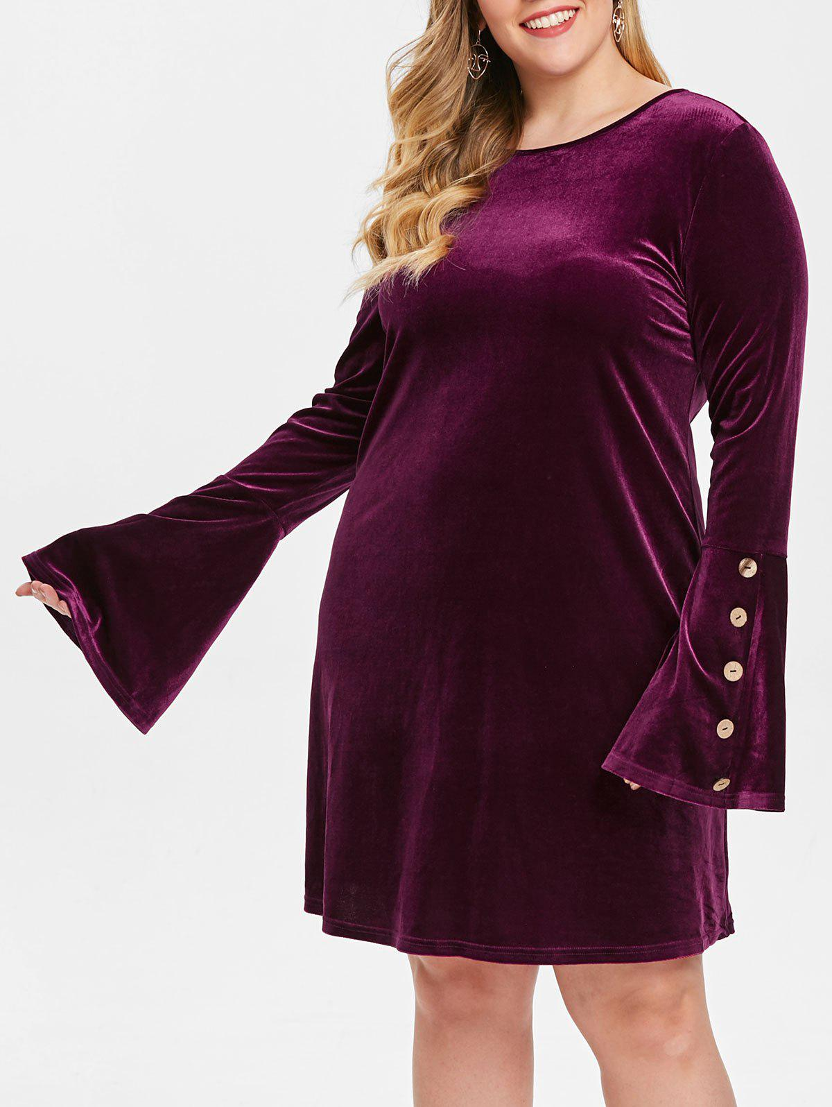 Shop Plus Size Flare Sleeves Velvet Dress with Buttons