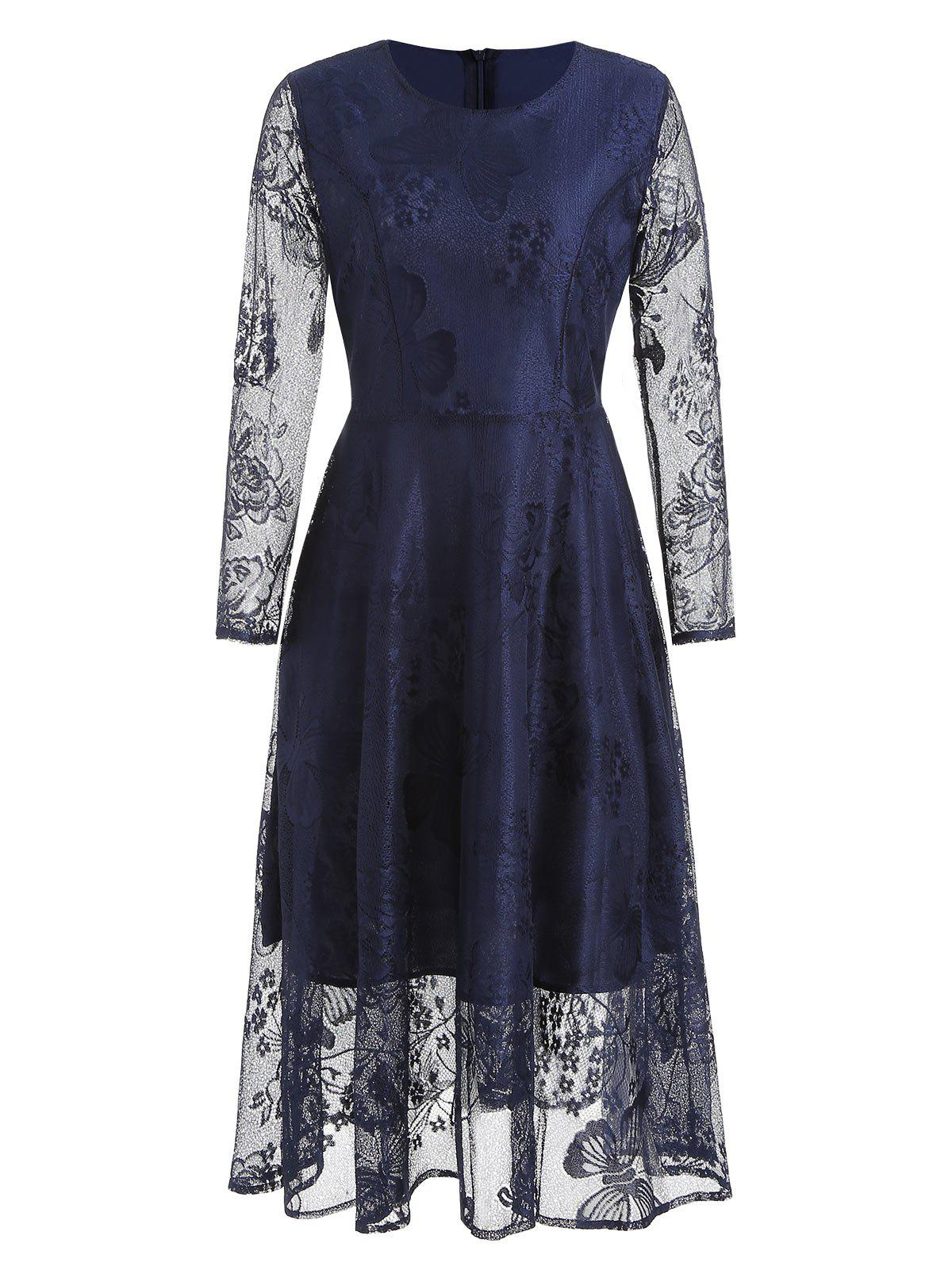 Unique Butterfly Lace Long Sleeve Flare Dress
