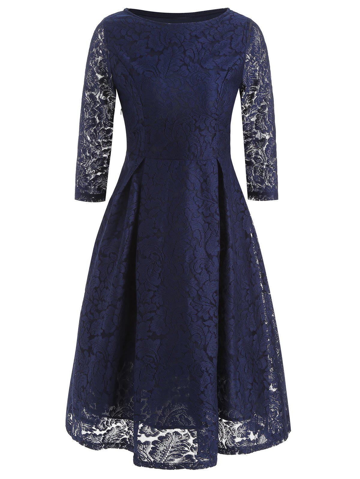 Fancy Lace Boat Neck A Line Dress