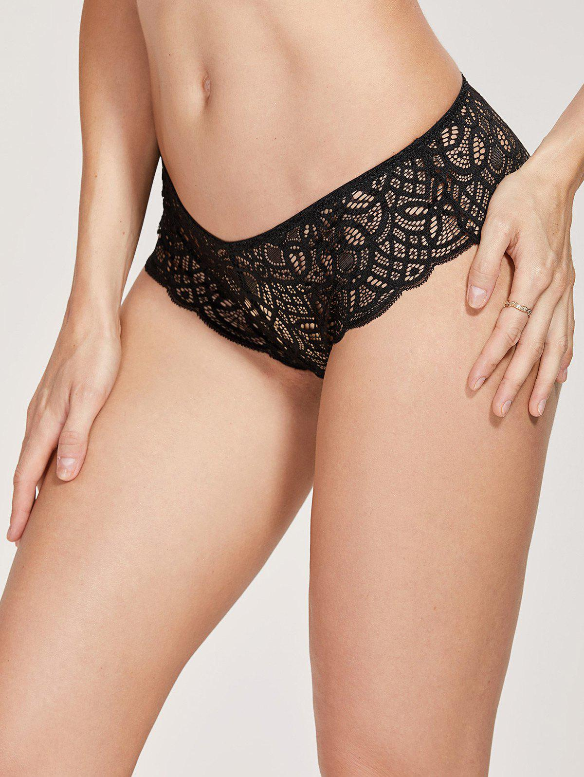 Sale Scalloped See Through Lace Briefs
