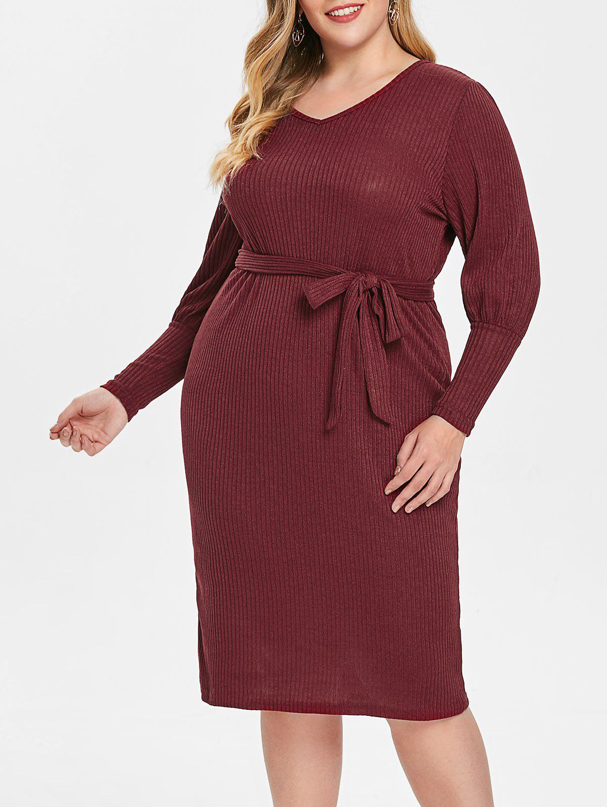 Fancy Plus Size Puff Sleeve V Neck Dress