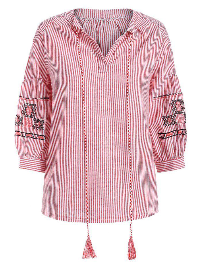 Shops Tied Embroidery Stripe Plus Size Blouse