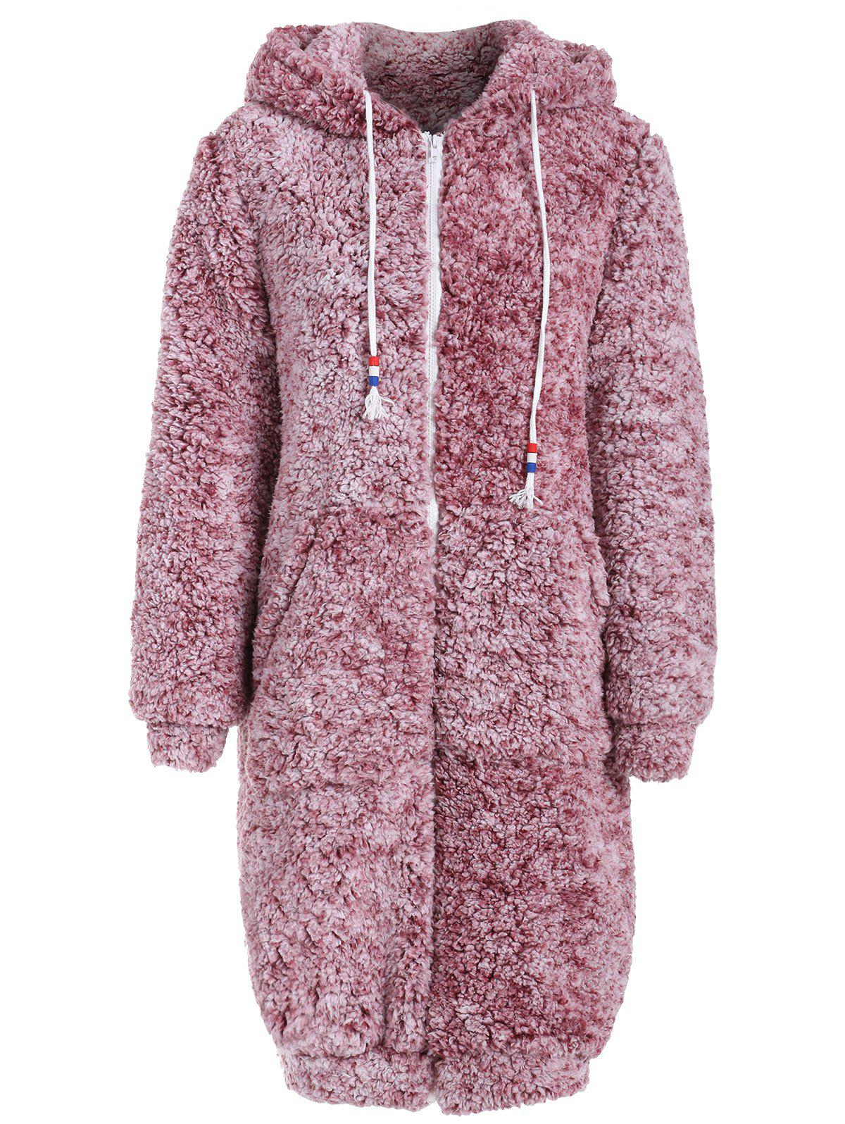 Outfits Front Pocket Hooded Faux Fur Coat