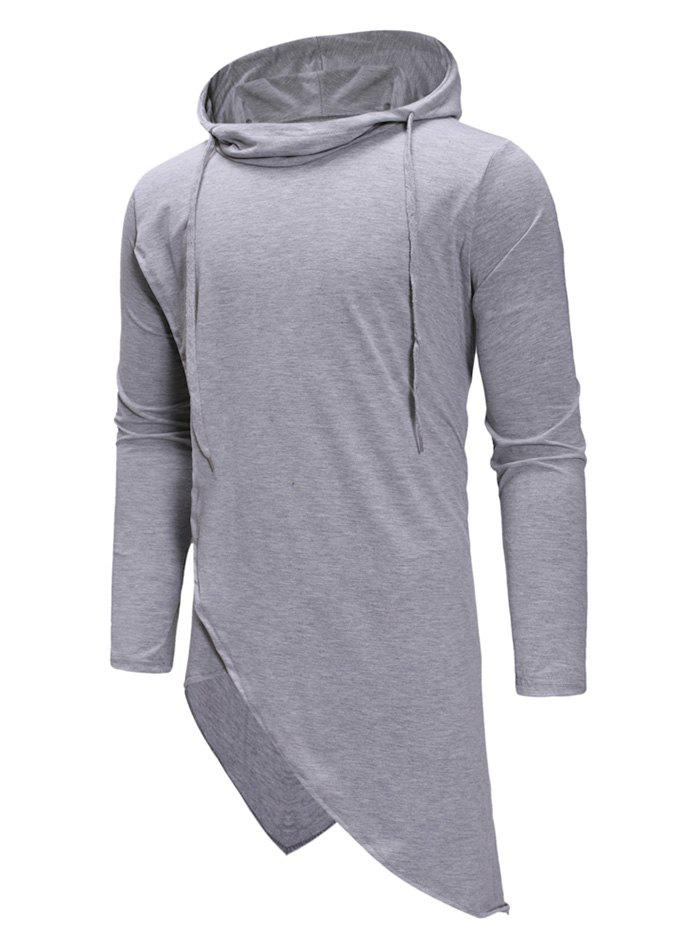 Outfits Irregular Solid Color Drawstring Hooded Shirt