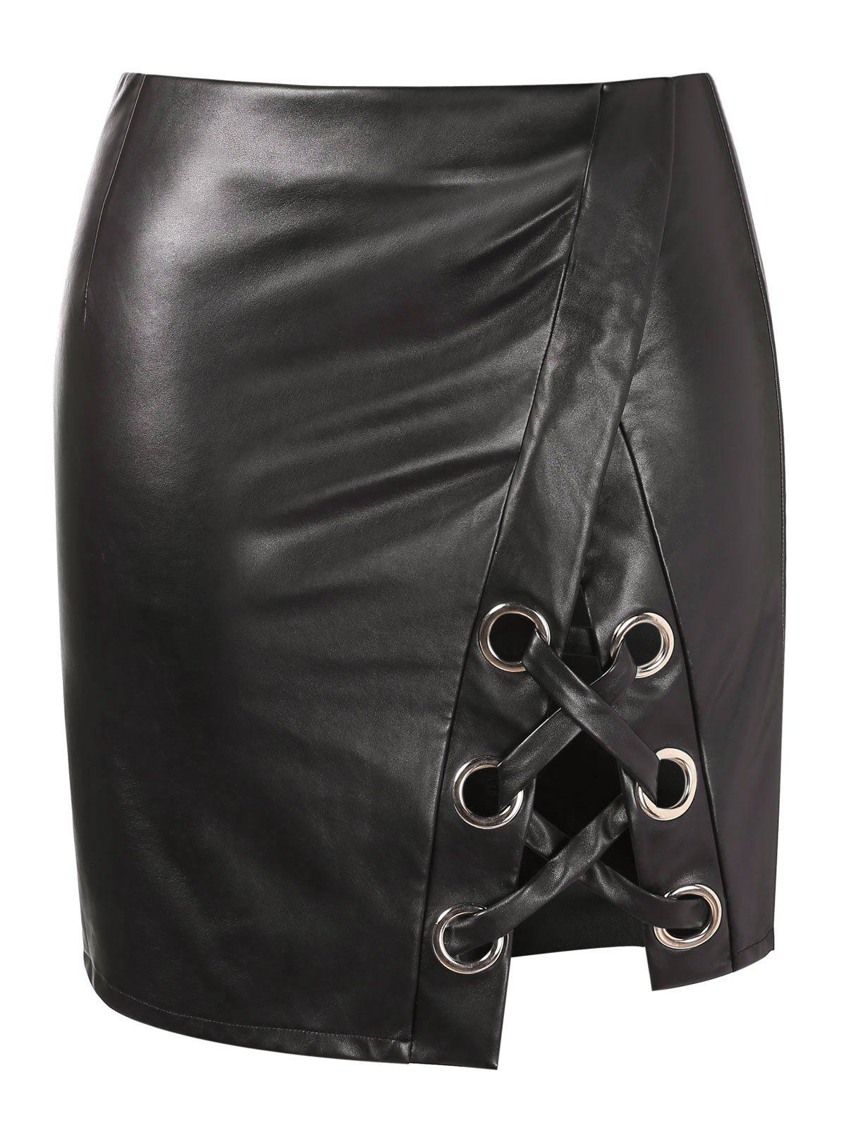 Store Criss Cross Plus Size Faux Leather Skirt