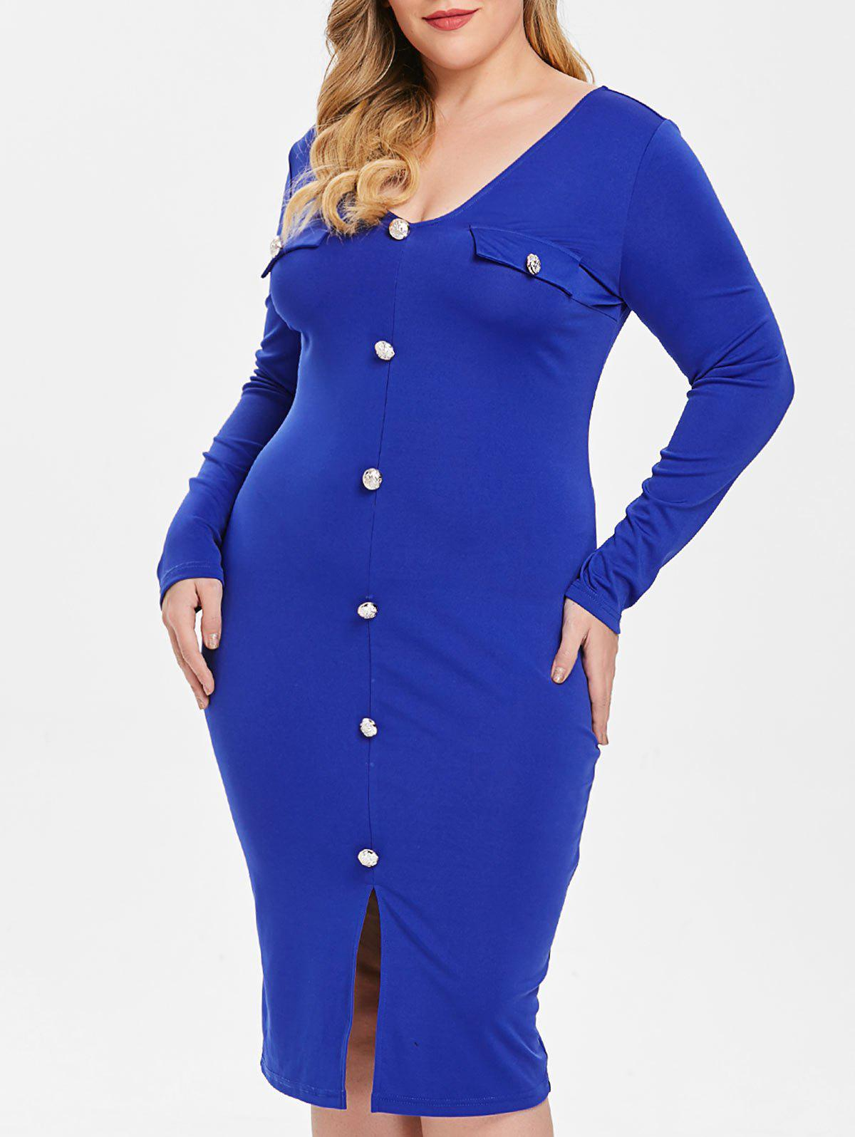 Trendy Plus Size Front Split Buttons Embellished Bodycon Dress