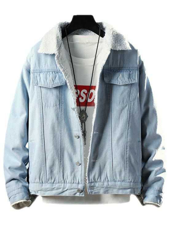 Trendy Fluffy Faux Fur Button Fly Denim Jacket