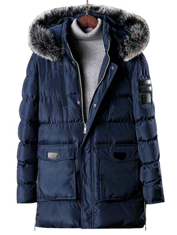 Shops Detachable Fur Hooded Zip Fly Padded Coat