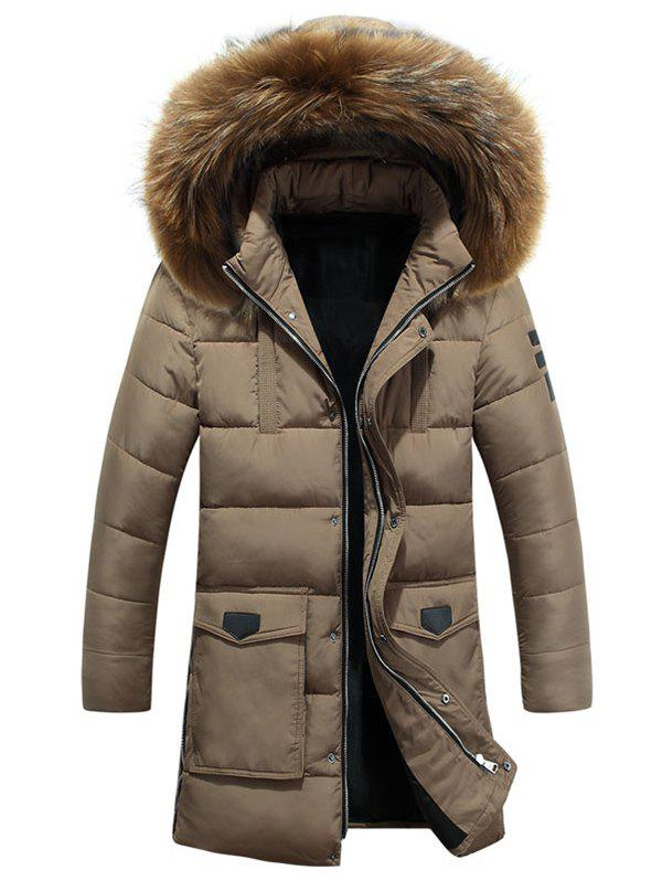 Store Detachable Fur Hooded Zip Fly Padded Coat