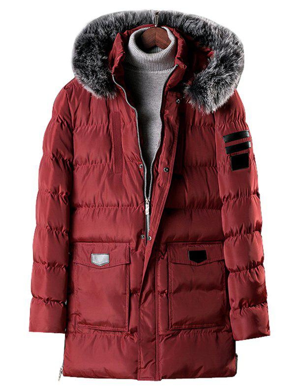 Latest Detachable Fur Hooded Zip Fly Padded Coat