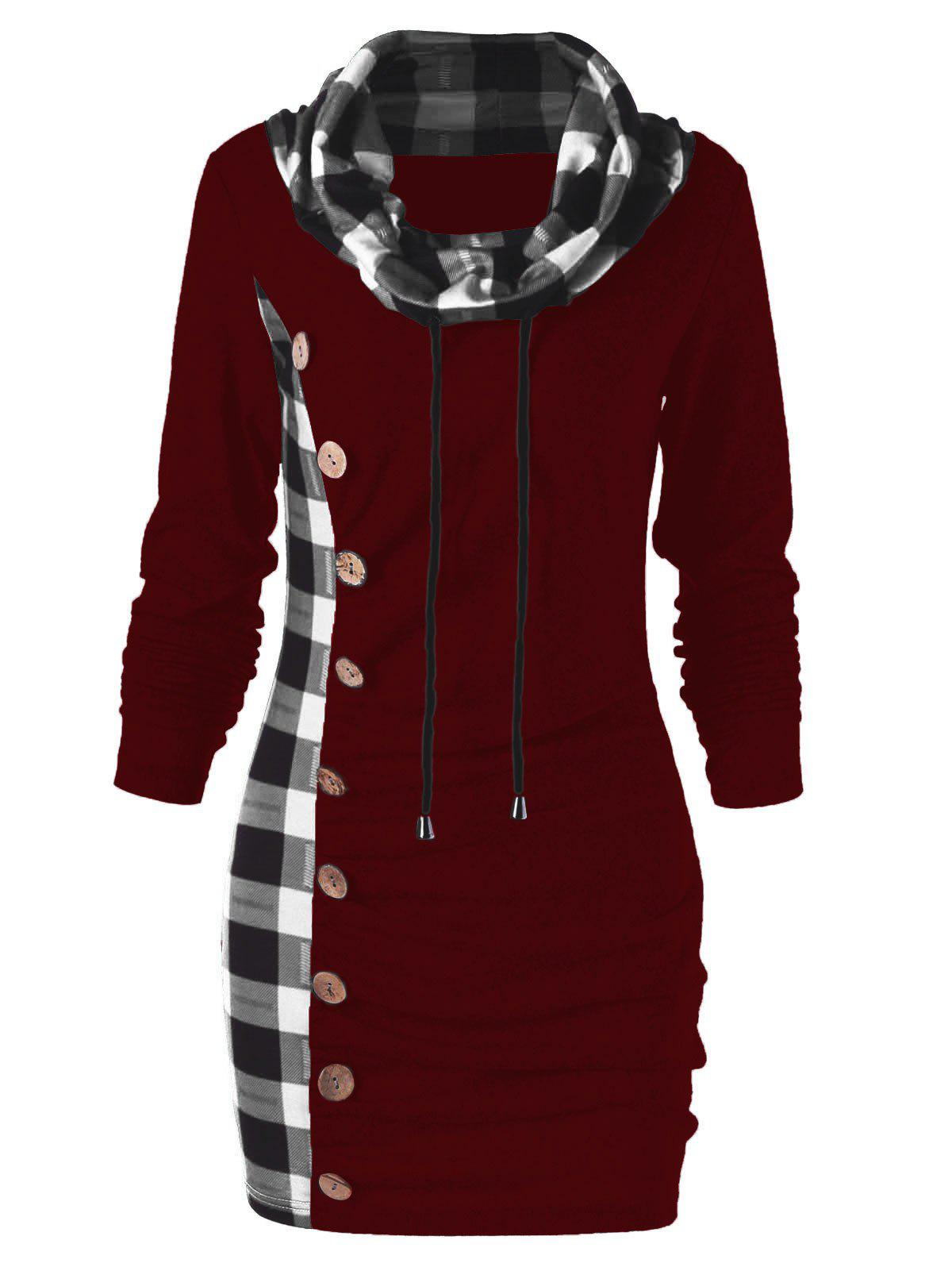 Buy Plaid Trim Cowl Neck Tunic Sweatshirt Dress