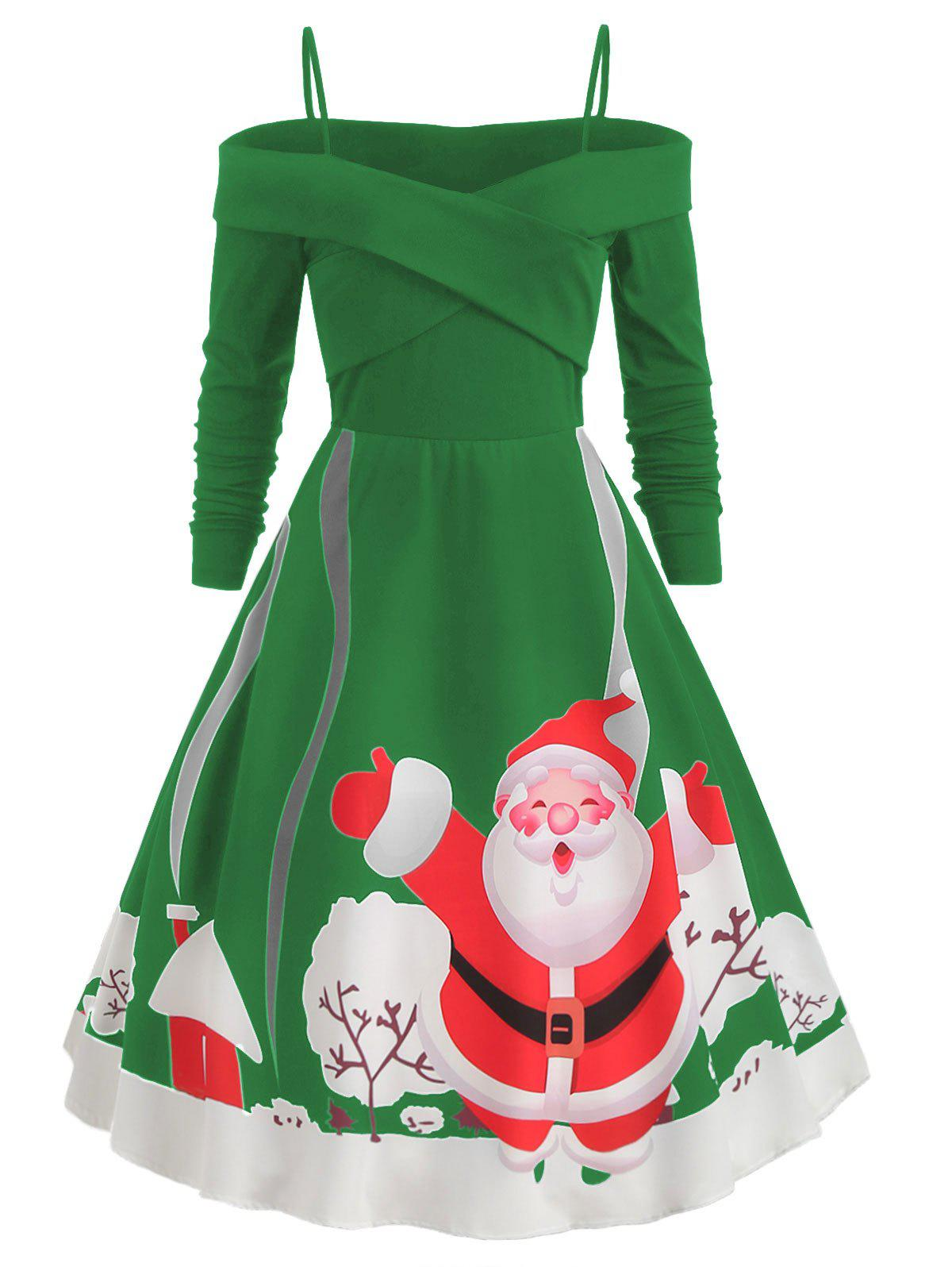 Outfit Spaghetti Strap Christmas Printed Flare Dress