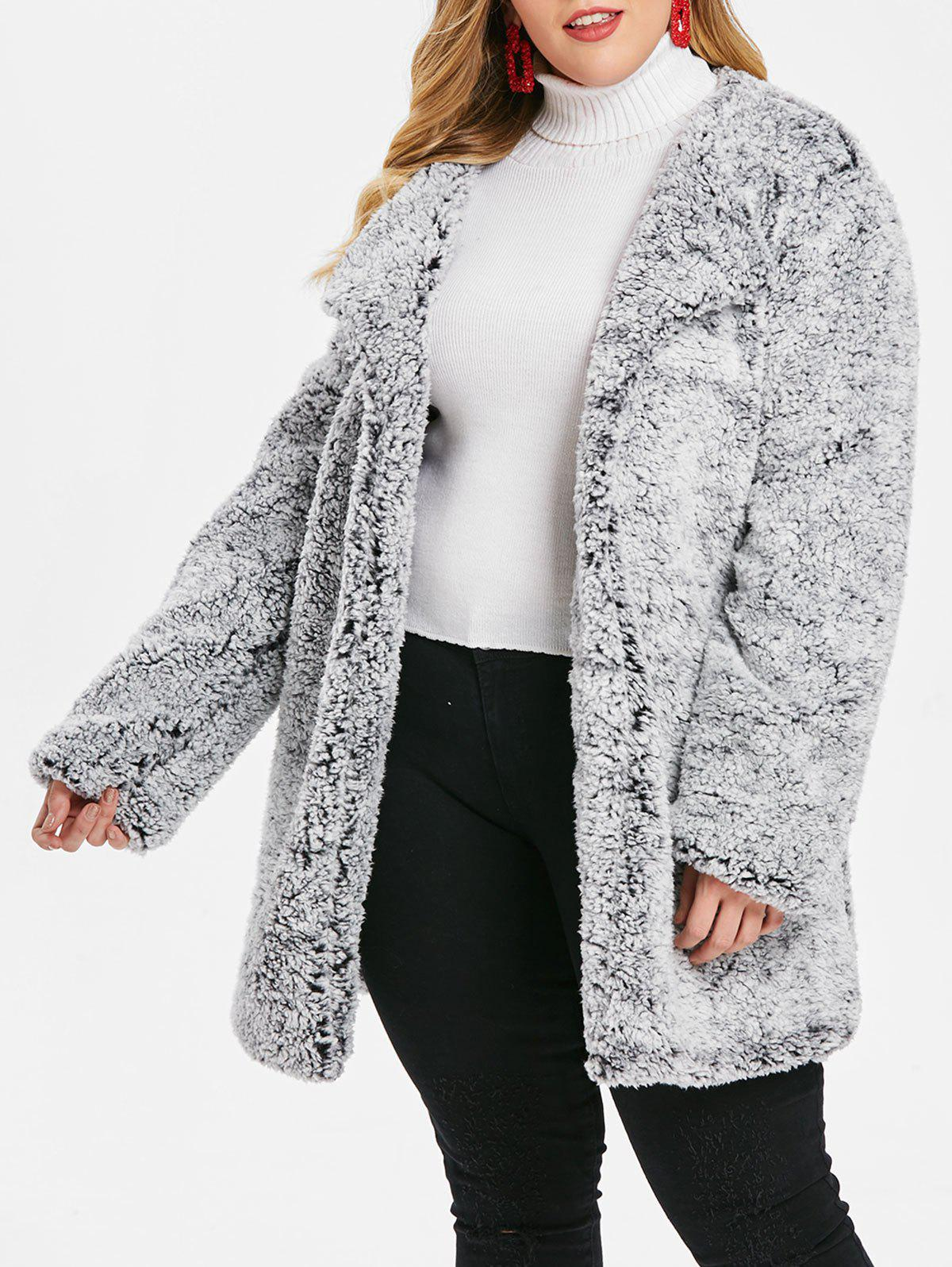 Outfits Plus Size Fluffy Turn Down Collar  Coat