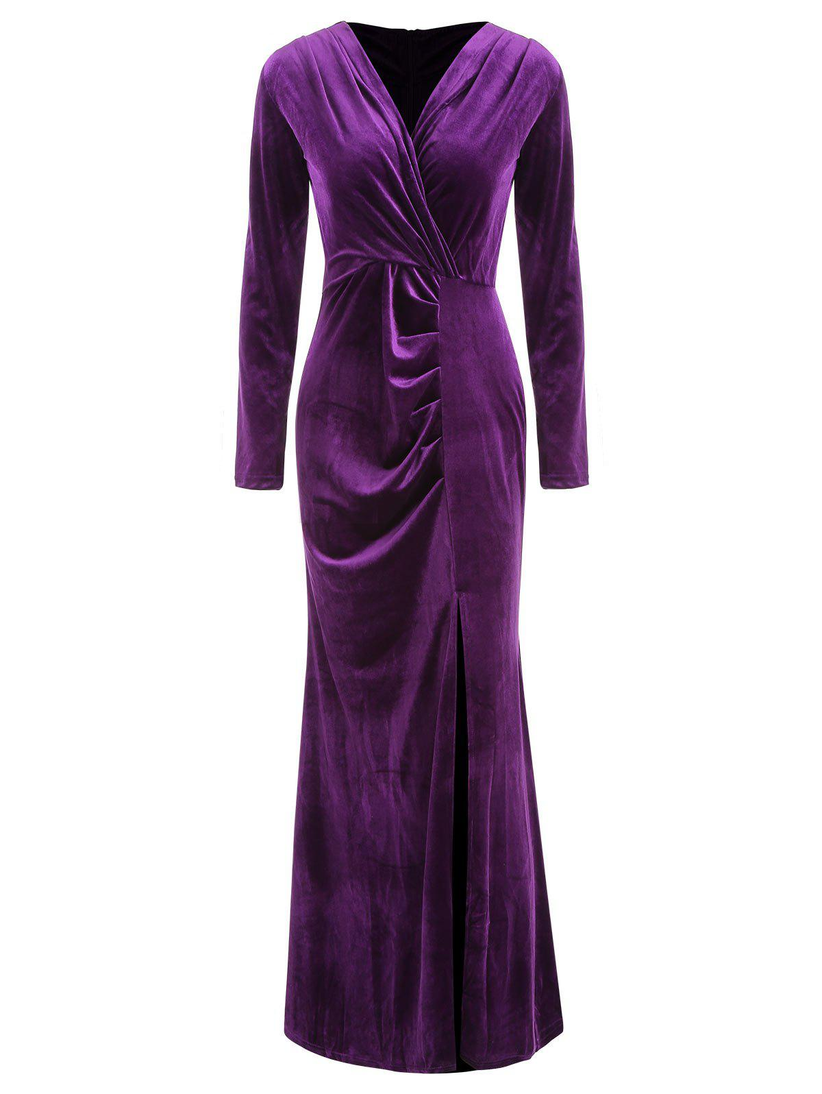Fancy Velour Side Slit Wrap Dress