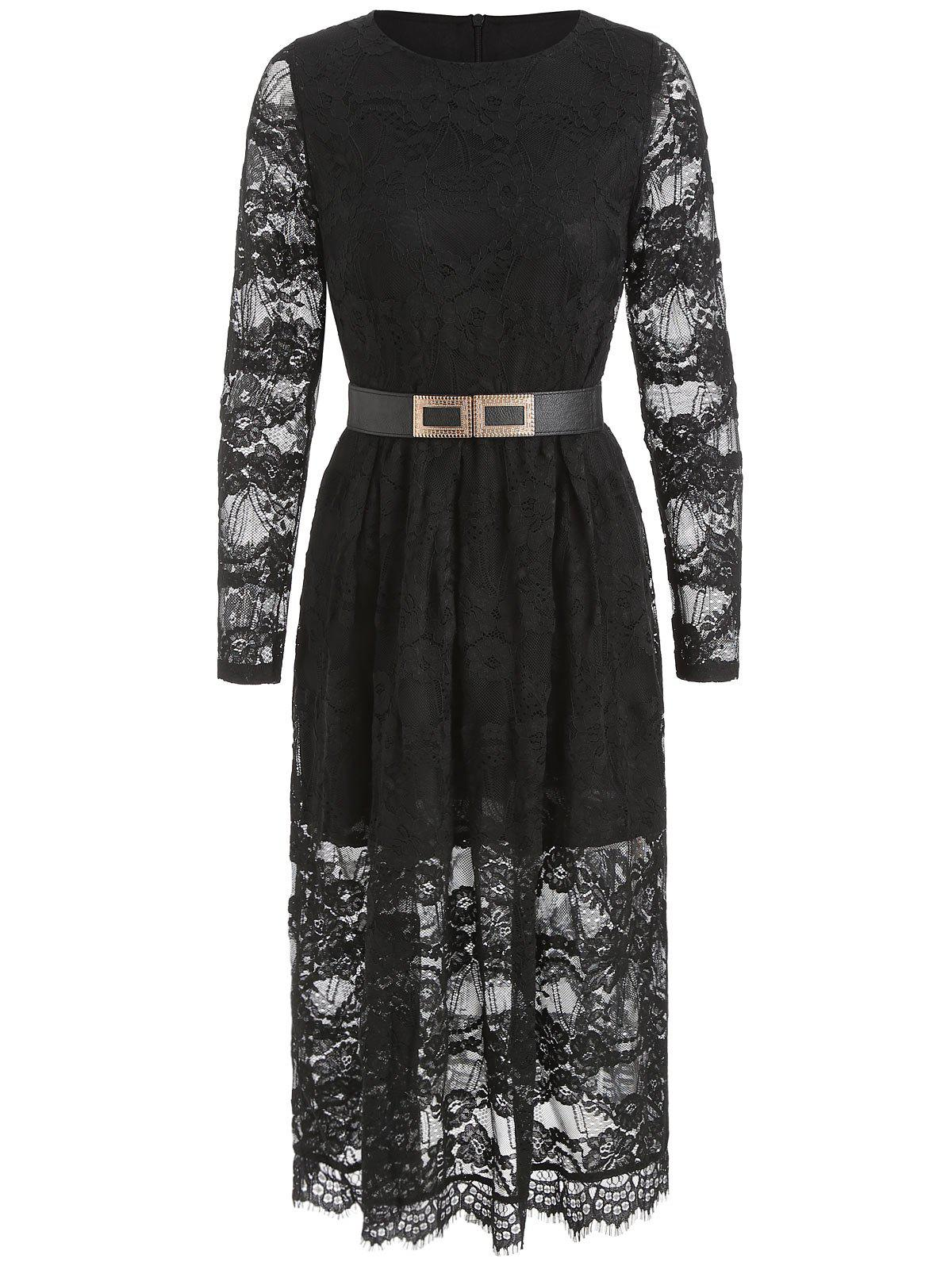 Trendy Belted Long Sleeve Lace A Line Dress