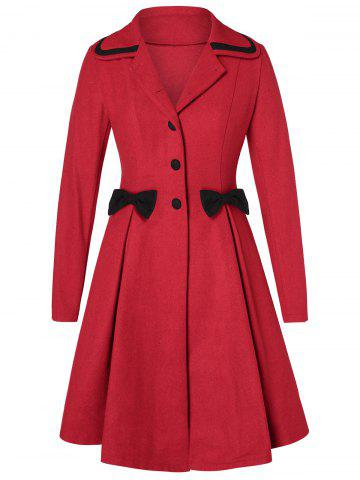 Plus Size Bowknot Skirted Wool Coat