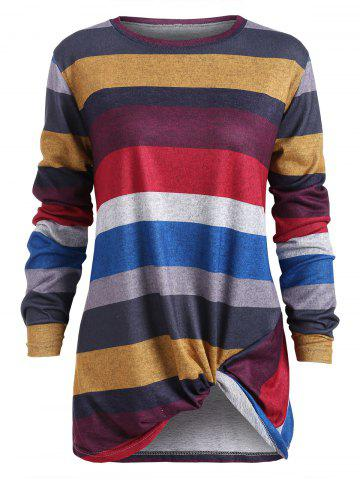 Color Block Striped Twist Front T Shirt