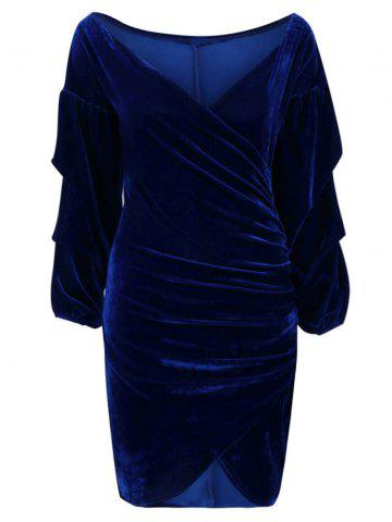 V Neck Wrap Ruched Bodycon Dress