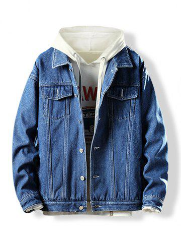 Button Fly Turn-down Collar Fleece Denim Jacket