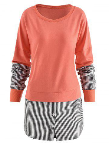 Vertical Striped Panel Sweatshirt