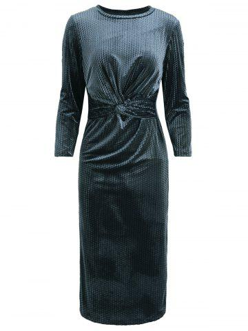 Velour Knotted Round Neck Bodycon Dress