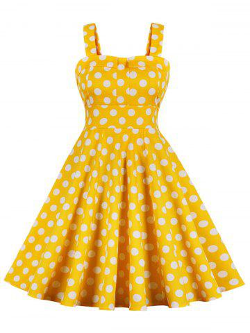 Vintage Polka Dot High Waist Swing Dress