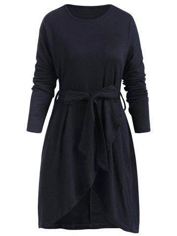 Belted Long Sleeve Tulip Dress