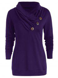 Cowl Neck Button Embellished T Shirt -