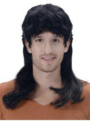 Medium Full Bang Layer Straight Synthetic Men Wig -
