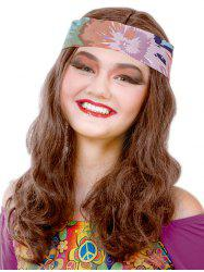 Long Center Parting Wavy Party Synthetic Wig with Hair Band -
