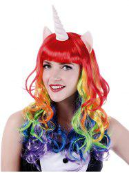 Long Full Bang Colorful Wavy Cosplay Synthetic Wig with Unicorn Horn Earrings -