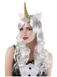 Long Side Bang Wavy Cosplay Party Synthetic Wig with Horn Earrings -