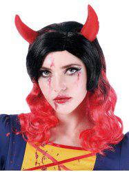 Medium Side Bang Colormix Wavy Cosplay Synthetic Wig with Horns -