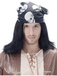 Long Halloween Straight Synthetic Wig with Skull Hair Band -