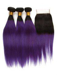 3Pcs Ombre Straight Human Hair Virgin Hair Weaves with Closure -