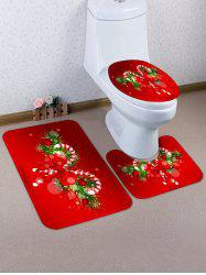 Christmas Candy Cane 3 Pcs Bathroom Toilet Mat -