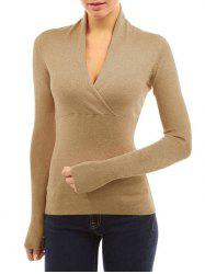 Wrap Plunging Neck Plain T Shirt -